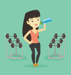 sportive woman drinking water vector image