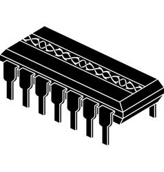 Stencil of chip with pattern vector