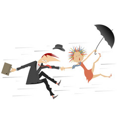 storm or hurricane and man with woman vector image