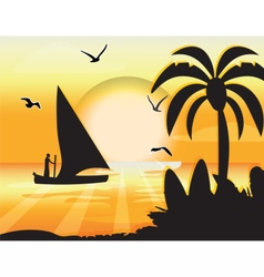 Sunset beauty card vector