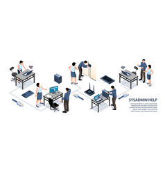 sysadmin isometric infographics vector image