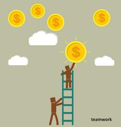 The concept of teamwork businessman takes a coin vector