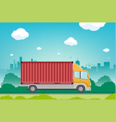 truck with container rides on the street vector image