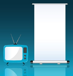 TV and roll up on blue background vector