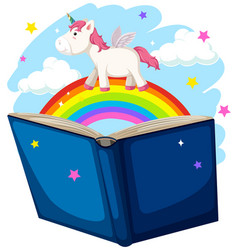 Unicorn and rainbow book concept vector