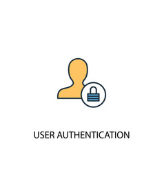 User authentication concept 2 colored line icon vector