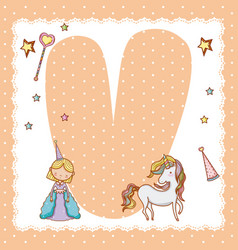 v alphabet letter for kids vector image