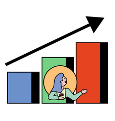 Woman avatar presenting success on chart vector