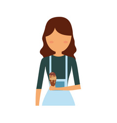 Woman with dark brown hair and ice cream vector
