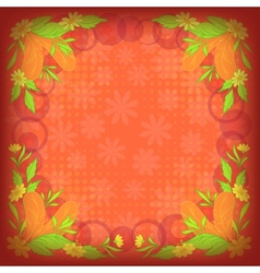 Background leaves flowers and feathers on red vector image vector image