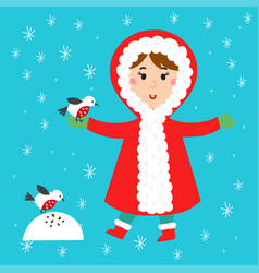 christmas kid playing winter games children vector image