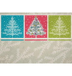 christmas trees on color background vector image vector image