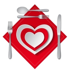 heart plate isolated vector image