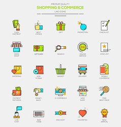 Line flat icons set 3 vector image vector image