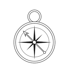Outline compass location element camping vector