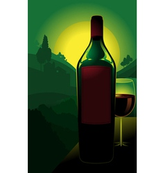 bottle of wine in countryside vector image