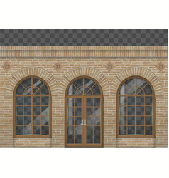 Brick facade with arches vector