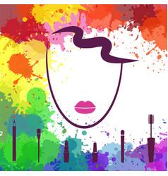 face of beautiful girl logo template makeup vector image vector image