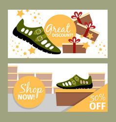 Men summer green shoe flyers vector