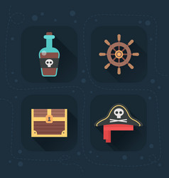 flat pirate icons vector image