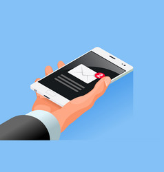 hand hold mobile cell phone isometric icon vector image