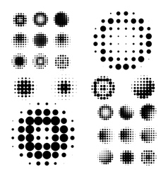 Set of abstract halftone isolated circular texture vector image