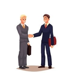 Two businessmen in suits shaking hands vector image