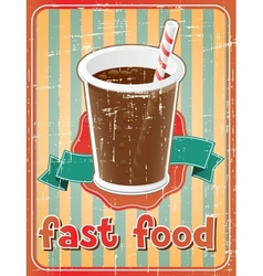 Fast food background with drink in retro style vector image
