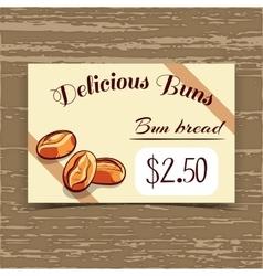 Price Tag Design Bun Bread vector image vector image