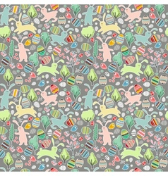 Seamless dark pattern with easter rabbits vector image vector image