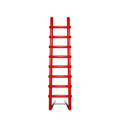 wooden ladder in red design with shadow leading up vector image vector image
