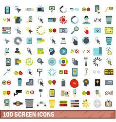 100 screen icons set flat style vector