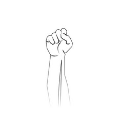 A clenched fist hand raised in air protest vector