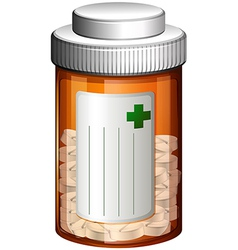 A medical container with tablets vector