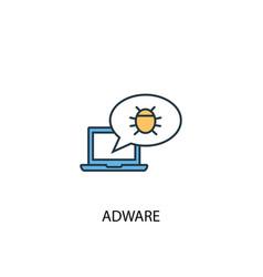 adware concept 2 colored line icon simple yellow vector image