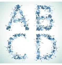 Alphabet water drop abed vector
