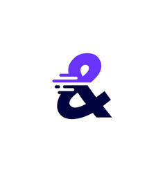 Ampersand mark dash and tech digital fast quick vector