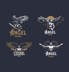 Angel man set of emblems vector