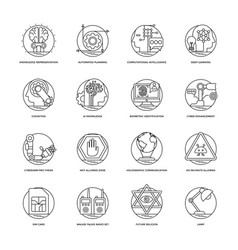 Artificial intelligence line icons 6 vector