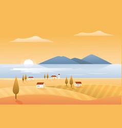 Autumn nature landscape seashore vector