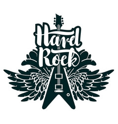Banner for hard rock music with guitar and wings vector