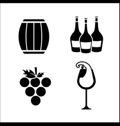barrel grape bottles and glass of wine icon vector image