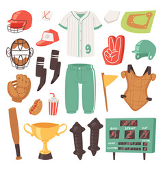 baseball catchers sportswear and batters vector image