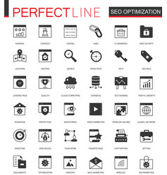 black classic seo and development icons set for vector image