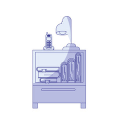 Blue shading silhouette of nightstand with vector