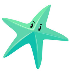 Blue starfish with eyes vector