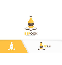 bottle and open book logo combination beer vector image