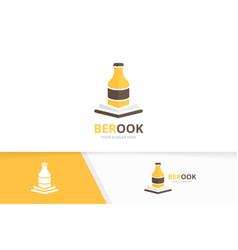 Bottle and open book logo combination beer vector