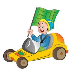 Boy in a go kart vector