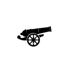 Cannon icon in black flat shape design isolated vector